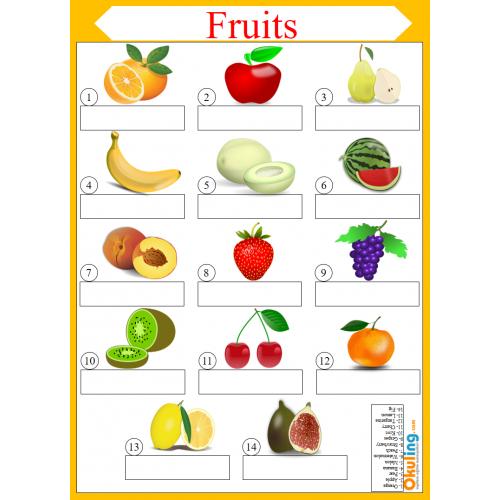 Ingilizce Fruits Meyveler Yaz Sil Calisma Kagidi