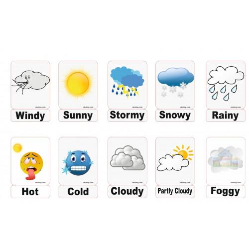 Weather Hava Durumu Manyetik Ingilizce Dil Kartlari